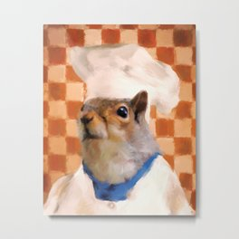 Chic Squirrel Chef Metal Print