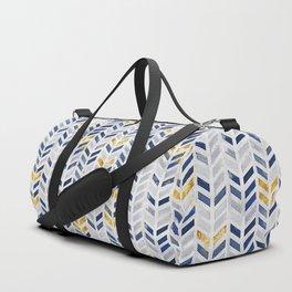 Herringbone chevron pattern.Indigo faux gold acrylic canvas Duffle Bag