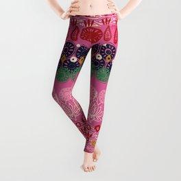 lotus block pink Leggings