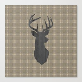 Country Farmhouse Rustic Decor, Plaid and Stag, Beige, Brown Canvas Print