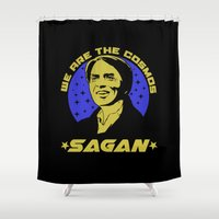sagan Shower Curtains featuring Carl Sagan we are the cosmos by Buby87