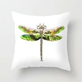 Dragonfly illustrated flying insect Throw Pillow
