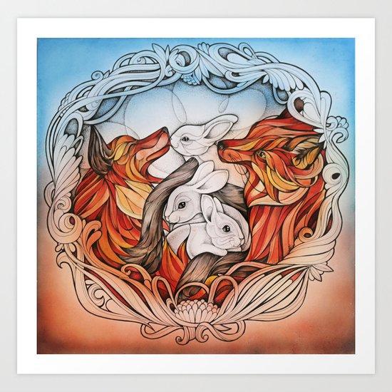 Foxes I Art Print