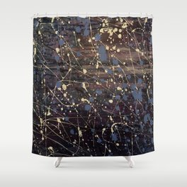 Splatter Painting Abstract, Blue, Purple, Pollack, Jodilynpaintings, Splatter Shower Curtain