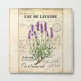 Lavender Antique Rustic Flowers Vintage Art Metal Print