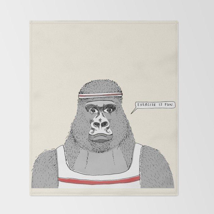 Gorillas love exercise Throw Blanket