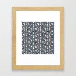 Polka Dot Stripe Pink Cream Green on Gray Framed Art Print