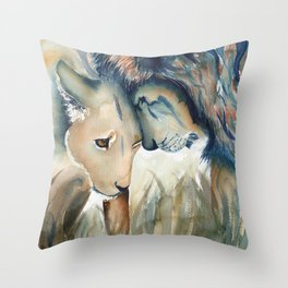 Watercolor Lion and Lioness Throw Pillow