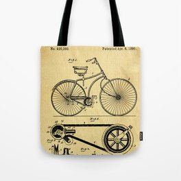 Bicyole Support Patent Drawing From 1890 Tote Bag