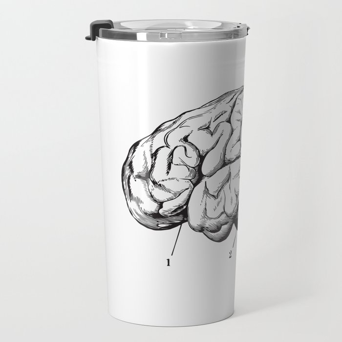 Human Brain Sideview Anatomy Detailed Illustration Travel Mug