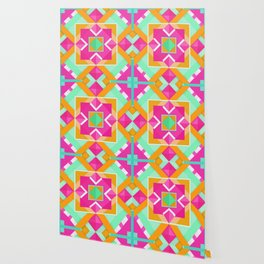 Geometric Tribal Mandala Inspired Modern Trendy Vibrant (Mint Green, Maroon, Wine, Hot Pink, Orange) Wallpaper