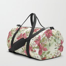 Pink burgundy green watercolor floral holly leaves Duffle Bag