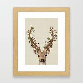 Deer Print, Flower crown, Woodlands Decor, Wall Art, Animals Print, Woodlands Nursery Art Framed Art Print