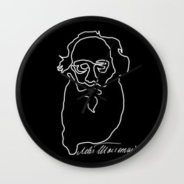 Leo Tolstoy Continuous Line Drawing Wall Clock