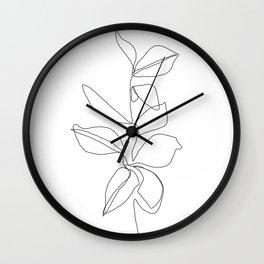 One line minimal plant leaves drawing - Birdie Wall Clock