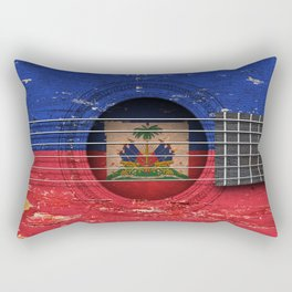 Old Vintage Acoustic Guitar with Haitian Flag Rectangular Pillow