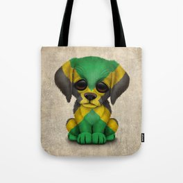 Cute Puppy Dog with flag of Jamaica Tote Bag