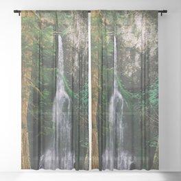 waterfall in Washington forest Sheer Curtain