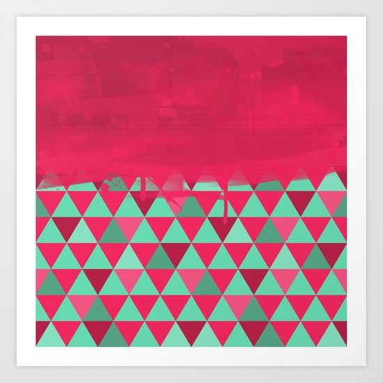 Triangle Dip Fushia Art Print