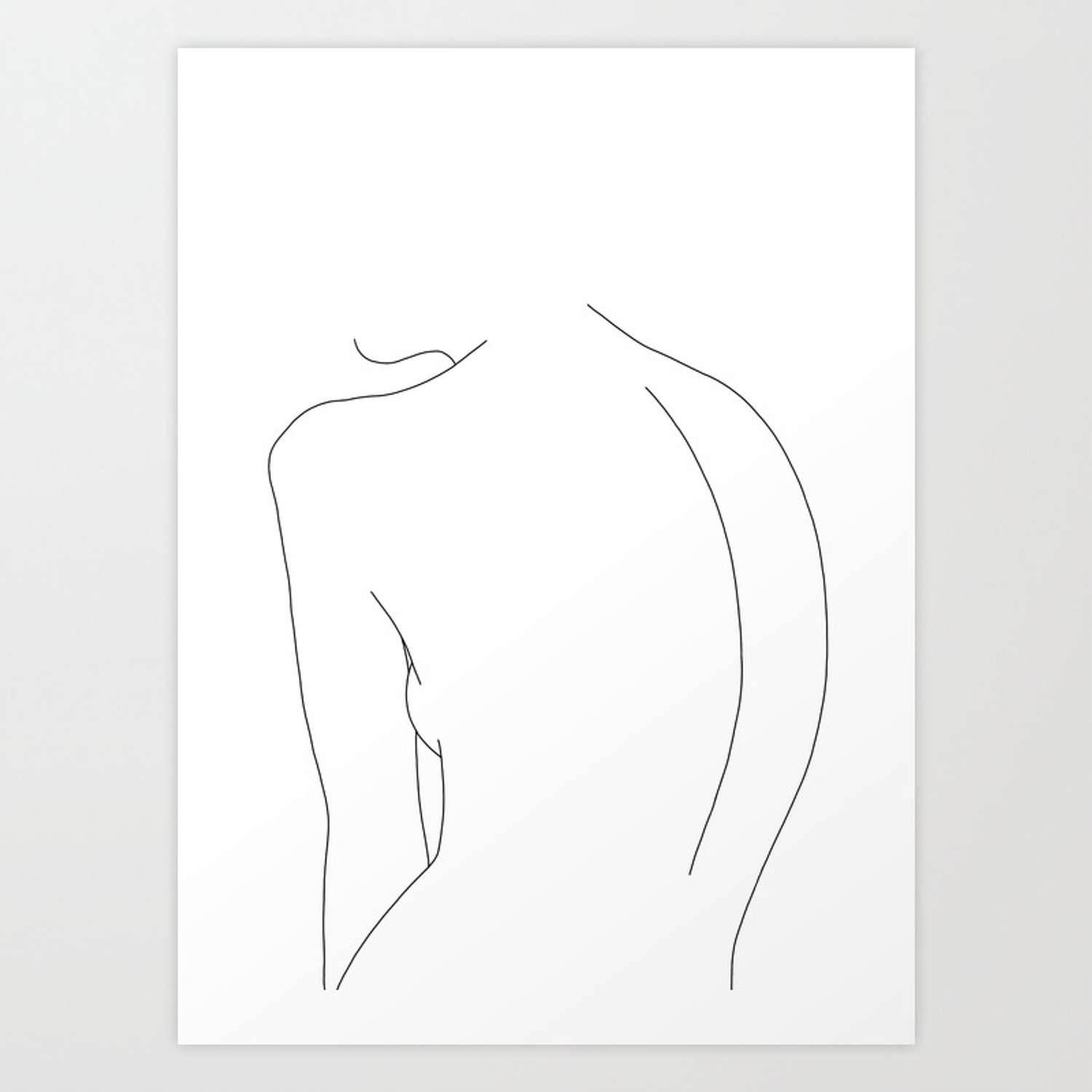 Minimal line drawing of womens body alex art print by thecolourstudy society6