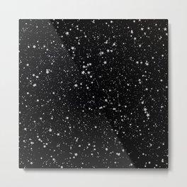 Glitter Stars2 - Silver Black Metal Print