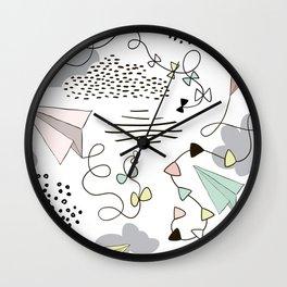 Kites & Clouds Wall Clock