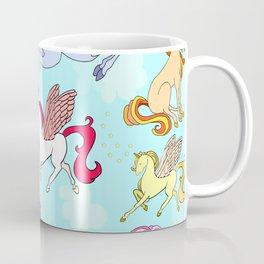 Unicorn repeating pattern colorful on blue Coffee Mug