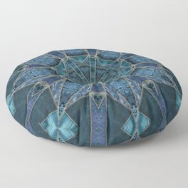 Teal And Blue Marble Stained Glass Design Floor Pillow
