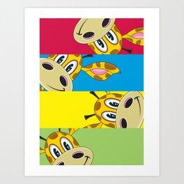 Adorably Cute Cartoon Giraffe Art Print