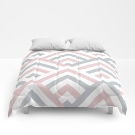 Pink + Gray | Brentwood Abstract Art Comforters