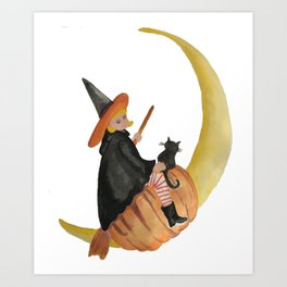 Moon Witch Halloween Trick or Treat October 31 Art Print