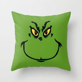 Grinch Smile - Green Cheeky Smirk Throw Pillow