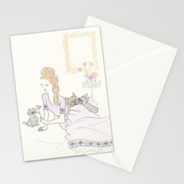 French Bulldogs and Black Cat Fashion Tulip Tryst Stationery Cards