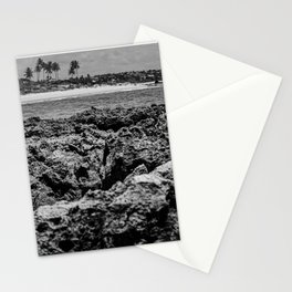 Landscape of sea rocks and the beach Stationery Cards