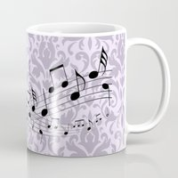 music notes Mugs featuring Damask Music Notes by Jessica Wray