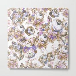 Bohemian vintage rustic brown lavender floral Metal Print