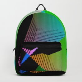 RGB (red gren blue) pixel grid planes crossing at right angles Backpack