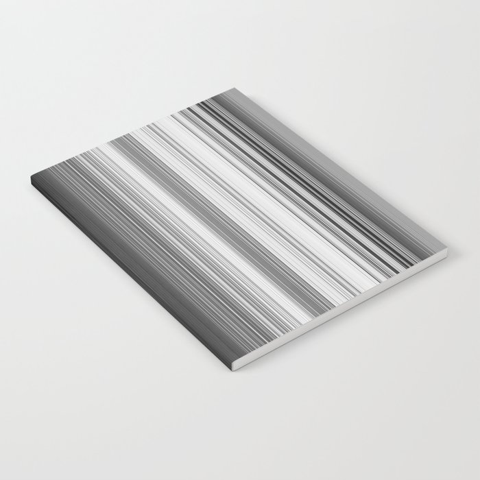 Black White Gray Thin Stripes Notebook