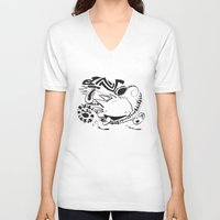 calvin hobbes V-neck T-shirts featuring Calvin and Hobbes line-work caricature design by Eric Goodwin