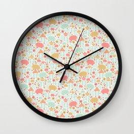 Spring Hedgehog Forest Wall Clock