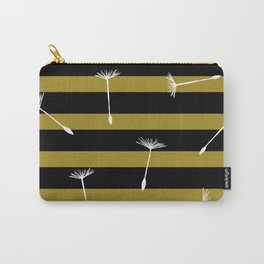 flying dandelion seeds simple seamless pattern on Yellow Olive Green stripes Background Carry-All Pouch