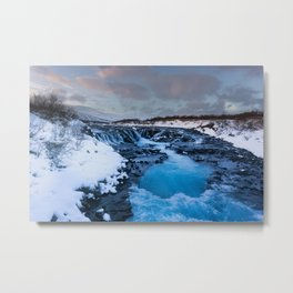 The blue waterfall of Iceland Metal Print