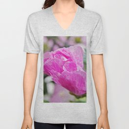 Pink Musk Mallow Rolled-up Unisex V-Neck