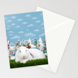 White lop eared bunny in a flower garden Stationery Cards