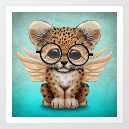 Cute Leopard Cub Fairy Wearing Glasses on Blue Art Print