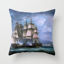 Hms Shannon Boards Uss Chesapeake Off Boston - Thomas Buttersworth Throw Pillow