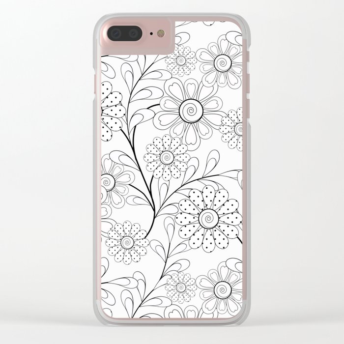 .Floral pattern on a white background. Clear iPhone Case