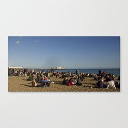 Busy Brighton Beach Canvas Print