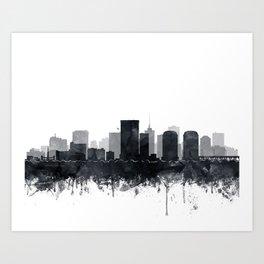 Richmond Skyline Black And White Watercolor by Zouzounio Art Art Print