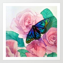 Butterfly and Roses Art Print